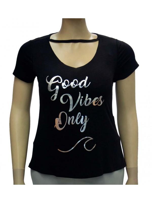 Blusa Plus Size Good Vibes Preta